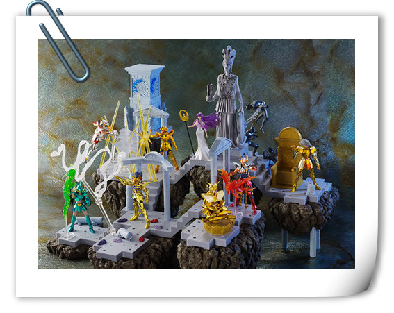 BANDAI D.D.PANORAMATION SERIES 《圣斗士星矢》 黃金12宫扩张套装 圣域之火钟楼 女神雅典娜与士兵