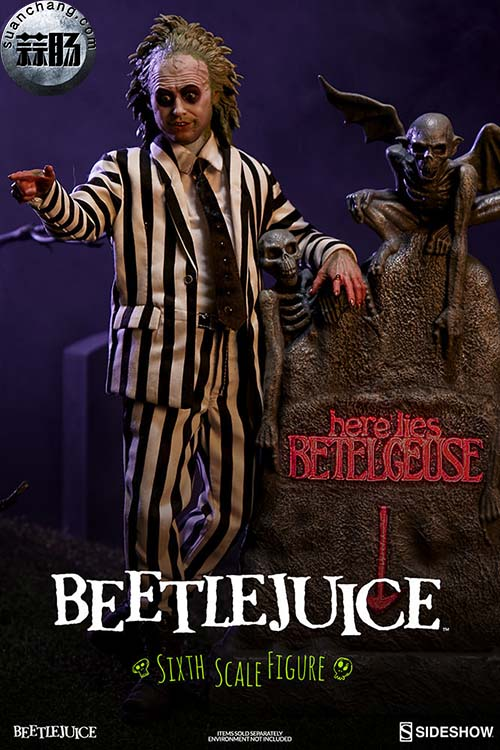 Sideshow官方实拍: 1/6 甲壳虫汁/ Beetlejuice 可动人偶& 墓碑 模玩 第1张