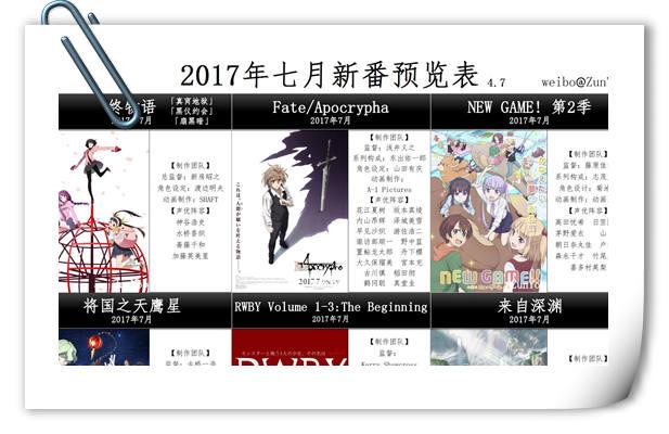 最新7月10月新番中文预览表,7月多达39部不能错过!