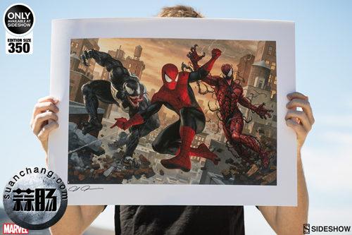 SIDESHOW限量版20寸蜘蛛侠vs毒液 & 屠杀签名画公开! 动漫 第1张