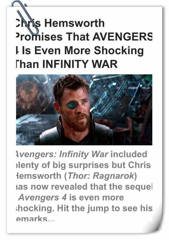 Chris Hemsworth 透露《复联4》将更加震惊 或将成为漫威最虐电影