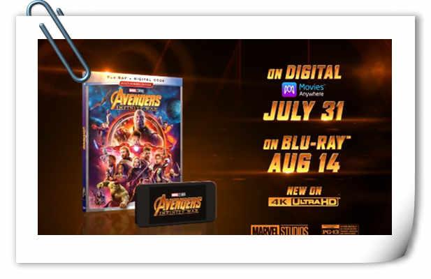 《复仇者联盟3:无限战争》实体蓝光即将发售 预告片释出!