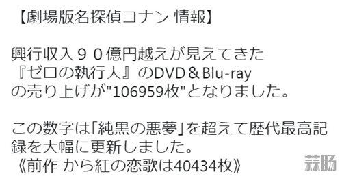 柯南剧场版《零之执行人》光碟首周销量破十万 再创纪录! 动漫 第2张