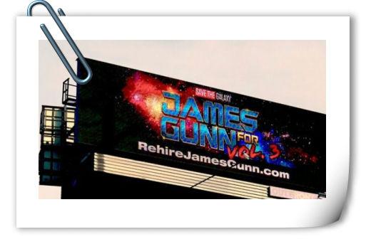 粉丝筹钱立数字广告牌 要求迪士尼复聘古恩执导《银河护卫队3》