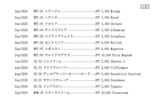 Takara Tomy公开6月至9月变形金刚玩具发售表 变形金刚 第3张